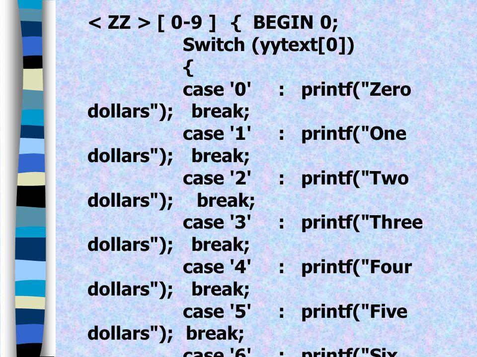 < ZZ > [ 0-9 ] { BEGIN 0;